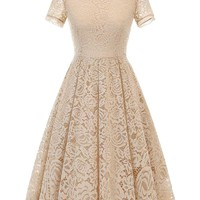 DRESSTELLS Women's Cocktail Floral Lace Dress Vintage Tea Formal Swing Dress