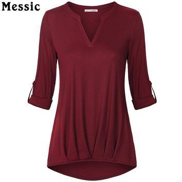 Messic Casual Rolled Up Long Sleeve Tunic Knitted T Shirt Women Summer 2018 V Neck Tee Shirt Femme Pleated Female T-shirt Top