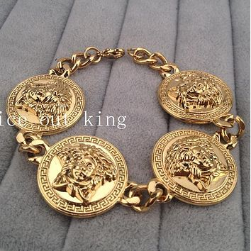Versace New Popular Men Women Chic Personality Hip Hop Bracelet Couple Hand Catenary I13390-1