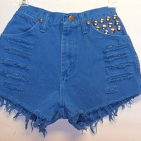 Vintage High Waisted Wrangler Teal Blue Denim Shorts with studs Waist  23.5 inches  XS