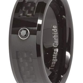 CERTIFIED 8mm Tungsten Ring Mens Wedding Band Black Carbon Fiber Cz Inlay