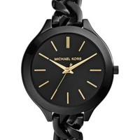 Michael Kors Women's Slim Runway Black Ion-Plated Stainless Steel Link Bracelet Watch 42mm MK3317 | macys.com