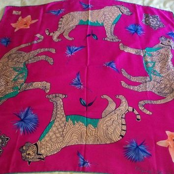 DCCKWA2 Versace Pink Wild Leopard Scarf