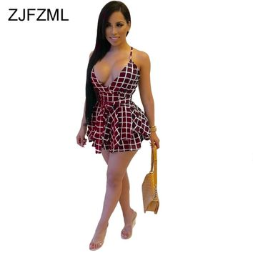 ZJFZML Spaghetti Strap Plaid Sexy Dress Women Party Sleeveless Ball Gown Club Mini Fit and Flare Deep V Neck Robe Femme