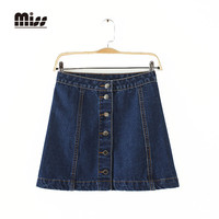 MISS 2016 New Summer Style Women Denim Mini Skirt A-line Blue Button Short Jeans American Apparel High Waist Jean Skirts T5B01