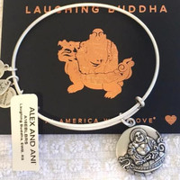 ALEX & ANI LAUGHING BUDDHA CHARM BANGLE BRACELET NWT RUSSIAN SILVER RTLS