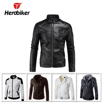 Trendy New Motorcycle Jacket PU Leather Men Vintage Motobike Faux Punk Motorcycle Leather Jacket Biker Clothing Retro Stylish Coat AT_94_13