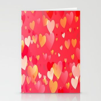 Pretty Colored Hearts Stationery Cards by Colorful Art