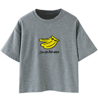 Banana Embroidered Drop Sleeve T-Shirt
