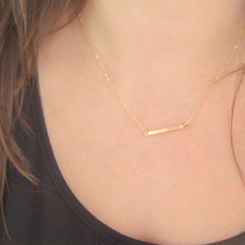 Gold Filled Bar Drop Necklace, Simple Horizontal Bar Layering Necklace, Stick Necklace, Celebrity Style Jewelry, Sideways Bar Necklace