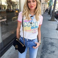 """""""Chanel-COCO"""" Round-neck Tops Crop Top Short-sleeve T-shirt"""