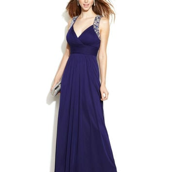 Xscape Sleeveless Jewel-Trim Racerback Gown