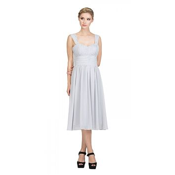 Silver Short Wedding-Guest Dress Ruched-Bodice