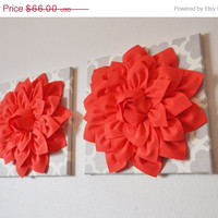 MOTHERS DAY SALE Two Large Coral Flower on Neutral Gray Tarika Wall Hanging -Flower Wall Decor-