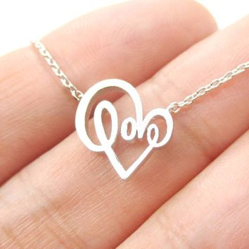 Cursive Love Typography Forming A Heart Shaped Charm Necklace in Silver | DOTOLY