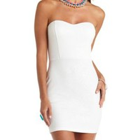Textured Strapless Bodycon Dress by Charlotte Russe - White