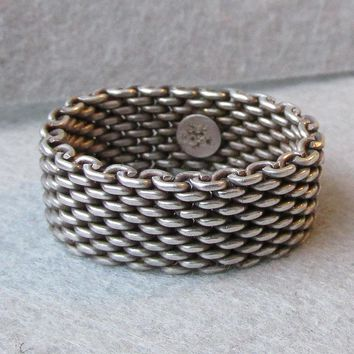 "Vintage RETIRED Estate Sterling Tiffany & Co. ""Somerset"" Mesh Band Band, Unisex Size 10"