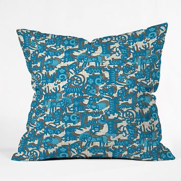 Sharon Turner Chinese Animals Blue Throw Pillow