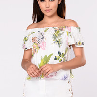 Arianna Off Shoulder Top - Off White