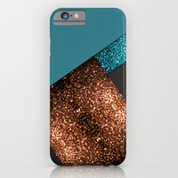 Aqua blue and bronze sparkles modern color block art iPhone & iPod Case by PLdesign