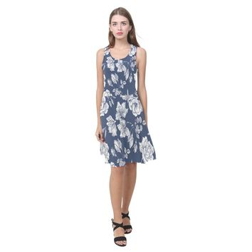 Blue Flower Sundress D04 Casual Sundress(Model D04)