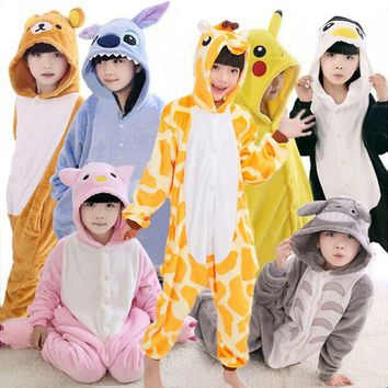 Kigurumi Onesuit Kids Cosplay Animals Panda Pajamas Unicorn Bat Jumpsuit Children Winter Onesuit For Boys Girls Flannel Pijama