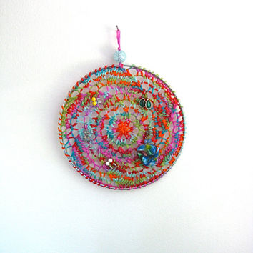 Earring Holder Display / Jewelry Organizer Stud Post & Dangle / Dreamcatcher -  Multicolor Rainbow
