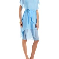 Blue Flowy Layered Chiffon Dress by Charlotte Russe