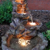 Outdoor Classics Lighted Stone Springs Outdoor Fountain