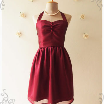 BLOOM : Burgundy dress wine dress vintage inspired party dress prom dress evening dress bridesmaid dress - size s, m ,l