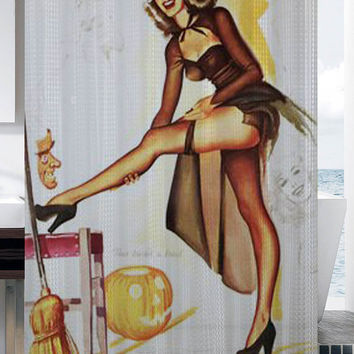 Happy Halloween Vintage halloween retro pin up sexy witch in stockings shower curtain