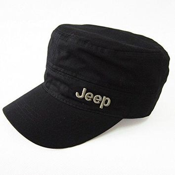 Jeep Unisex Metal Logo Cadet Military Cap Twill Army Corps Hat Flat Top Cap Outdoor Sports Cap Hat