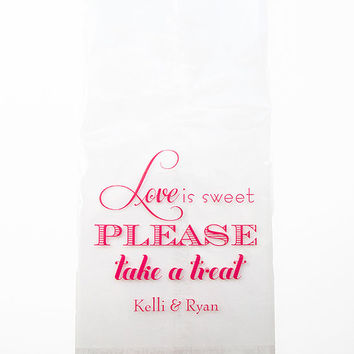 Love is Sweet Please Take a Treat Large Cellophane Candy Bar Bags Foil Stamped Treat Cello Personalized Wedding Favors Bags Bridal Custom