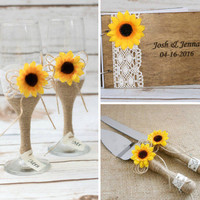 Sunflower Wedding Set Guest Book Flutes Cake Server