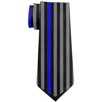 PEAPGQ9 Thin Blue Line Police Lives Matter Chevron Flag All Over Neck Tie