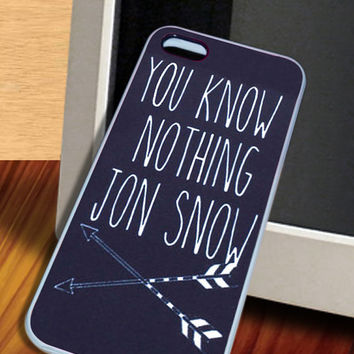 You Know Nothing Jon Snow Game Of Thrones Cover Case for iphone 4/4s,5/5s,5c, Samsung Galaxy s3,s4,s5, iPod 4,5 Touch Hard case Black,white
