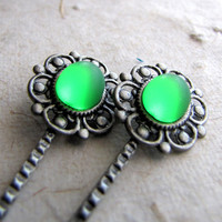 Antiqued Silver Steampunk Lace Hairpins - Absinthe Glow