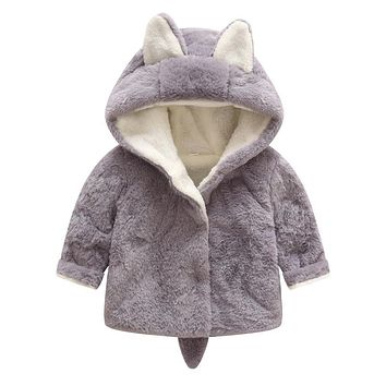 Winter Children Fashion Coat Faux Fur Coat with a Hat Simple Character Rabbit Infant Clothing Fur Keep Warmming Baby Clothes