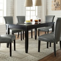 7 pc Newbridge collection espresso finish wood faux marble top dining table set with metal color leather like vinyl upholstered chairs