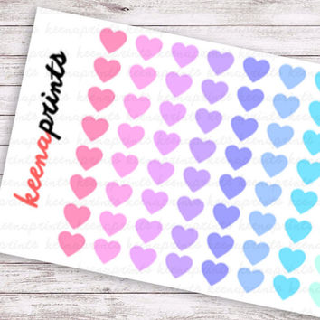 96 PASTEL HEARTS Stickers Perfect for Erin Condren Life Planner, Filofax, Plum Paper & other planner or scrapbooking