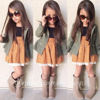 New Fashion 2016 Boutique Outfits Sets For Cute Kids Girl Print Kids Toddler Girl Long Sleeve Coat+Dress Clothes Outfits