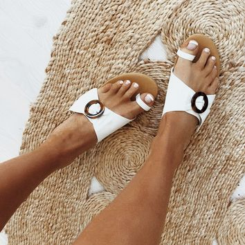 Brie Ring Slides - White - Flats by Sabo Skirt