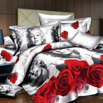 Marilyn monroe bedding sets Reactive printed duvet cover set/bedclothes duvet cover 3d oil painting bedding set
