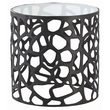 Arteriors Home Ennis Black Oxidized Iron/Glass Side Table - Arteriors Home 6598