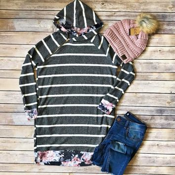 Charcoal Stripe with Floral Accents Hoodie Tunic