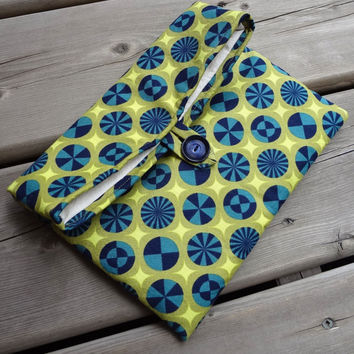 Kindle 3 padded Case, Foldover Makeup Pouch, Clutch Purse Bag Bridal Party Bridesmaid Gift Wedding Accessory Travel Navy Lime, Ready to ship