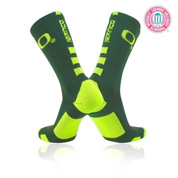 TCK® Baseline Elite Licensed Oregon Ducks Dark Green Neon Yellow Crew Socks