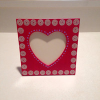 Red Hand Painted Heart Picture Frame