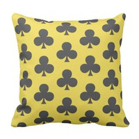 Grey Clovers Clubs Suit Poker Game Cushion