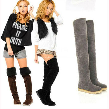 2013 Discount Cheap Winter Over The Knee Fur Lined Thermal Flat Snow Long Tall Boots Big Plus Size 40 41 42 43
